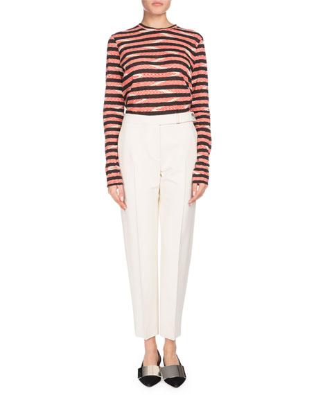 Long-Sleeve Crewneck Chevron & Stripe Cotton T-Shirt