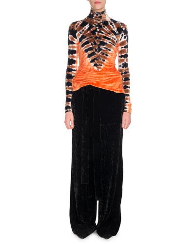 Turtleneck Long-Sleeve Tie-Dye Degradé Velvet Top and Matching Items