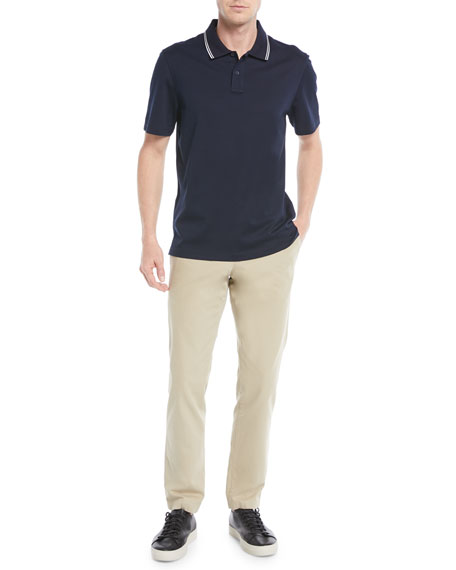 Men's Tipped-Collar Ribbed Polo Shirt