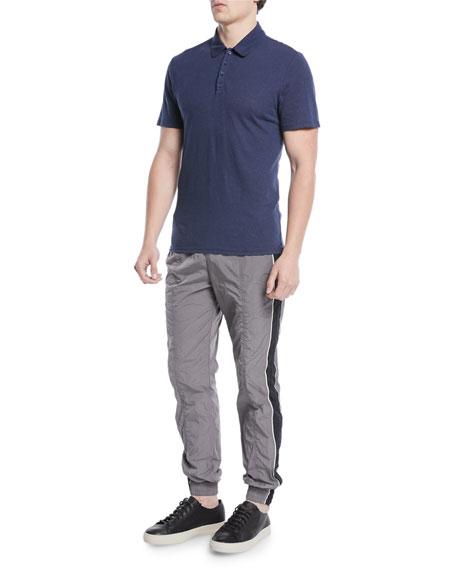 Men's Heathered Linen/Cotton Knit Polo Shirt