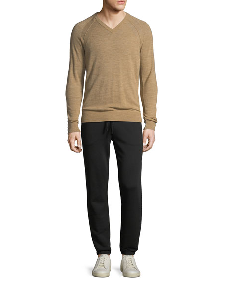 Men's Seamed Wool/Linen V-Neck Sweater