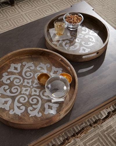 Round Wood Tray w/ Metal Inlay, 20