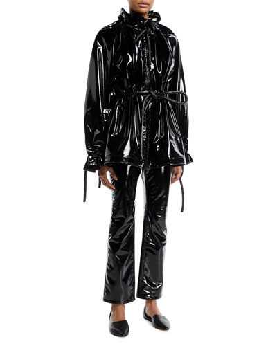 Zip-Front Corded Drawstring Lacquered Terry Short Anorak Jacket and Matching Items