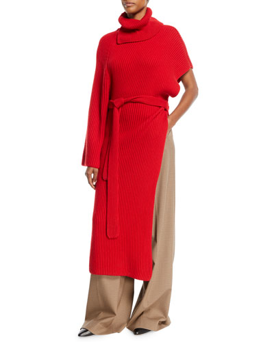 Turtleneck One-Sleeve Chunky Rib Cashmere Wrap Tunic and Matching Items