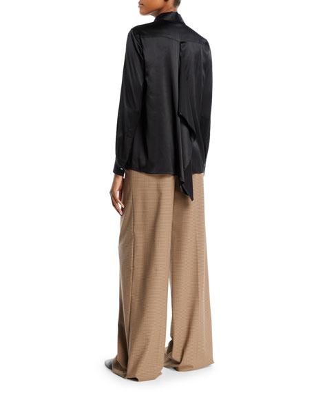Long-Sleeve Button-Front Drape-Back Silk Satin Shirt