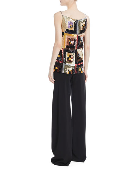 V-Neck Hand-Sewn Patchwork Sequin Camisole Top