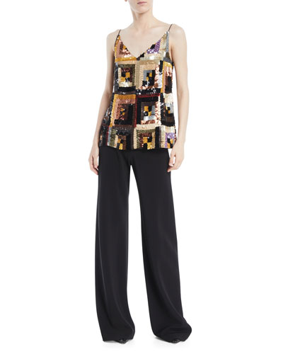 V-Neck Hand-Sewn Patchwork Sequin Camisole Top and Matching Items