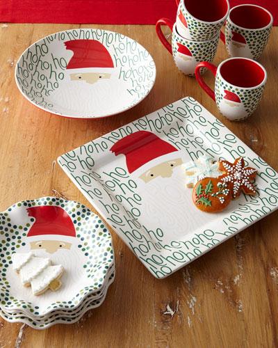 Ho Ho Santa Ruffle Christmas Plates, Set of 4  and Matching Items