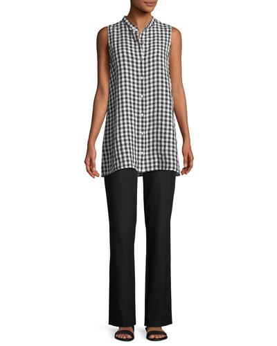 Sleeveless Organic Linen Gingham Tunic Shirt and Matching Items