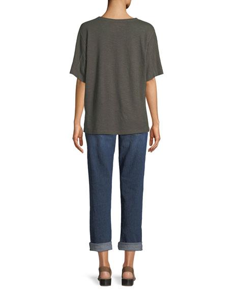 Short-Sleeve Hemp-Cotton Twist Top, Petite
