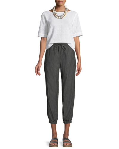 Grid-Textured Cotton Voile Top and Matching Items