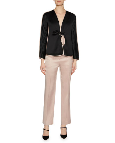 Prive Long-Sleeve Tie-Front Silk Satin Jacket with Tie-Waist and Matching Items