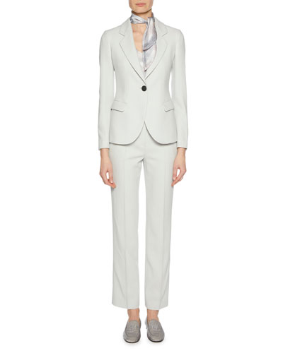 Zip-Front Straight-Leg Virgin Wool Pants and Matching Items