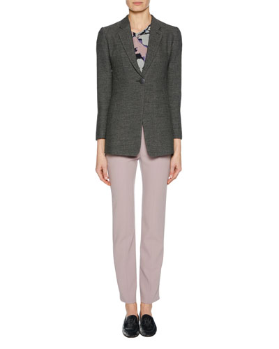 Straight-Leg Wool Crepe Crop Pants with Back Zip and Matching Items