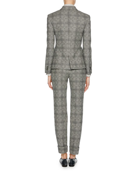 Asymmetric 5-Button Check-Pattern Wool-Blend Novelty Jacket