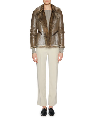 Metallic Belted Shearling Fur Jacket and Matching Items