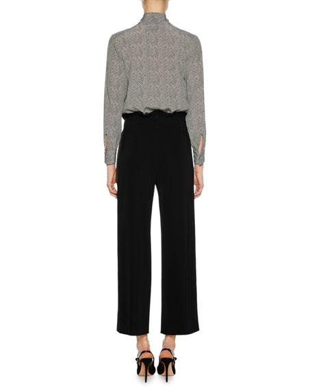 Long-Sleeve Button-Front Herringbone Silk Blouse w/ Necktie