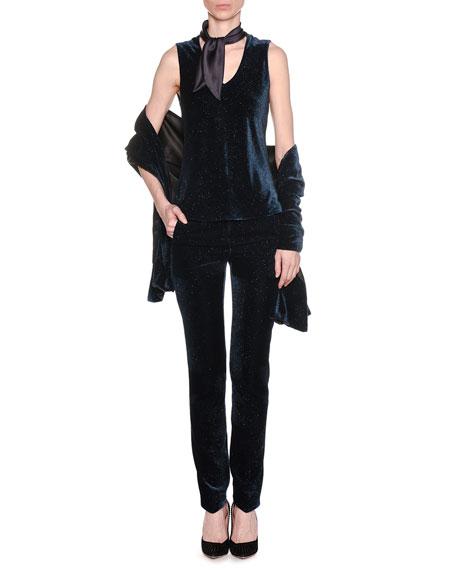 No Closure Glitter Velvet Jacket