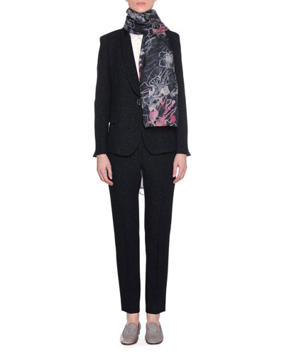 One-Button Metallic Double-Face Wool Blazer w/ Satin Collar and Matching Items