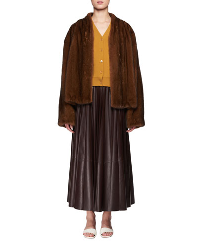 Vaileen A-Line Long Lambskin Leather Skirt and Matching Items