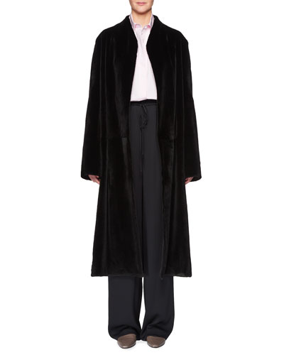 Paret Belted Long Mink Fur Coat and Matching Items