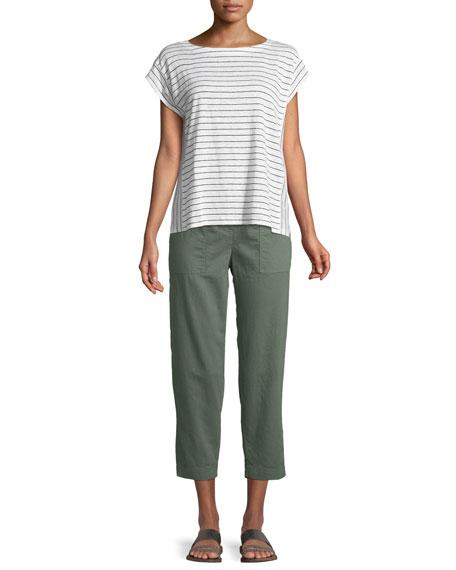 Short-Sleeve Thin-Striped Linen Jersey Top