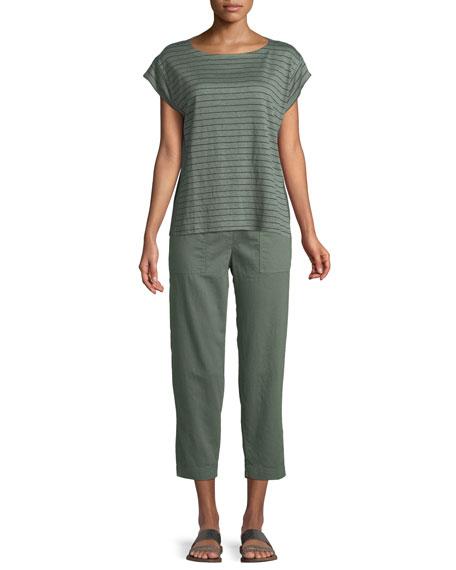 Short-Sleeve Thin-Striped Linen Jersey Top, Petite