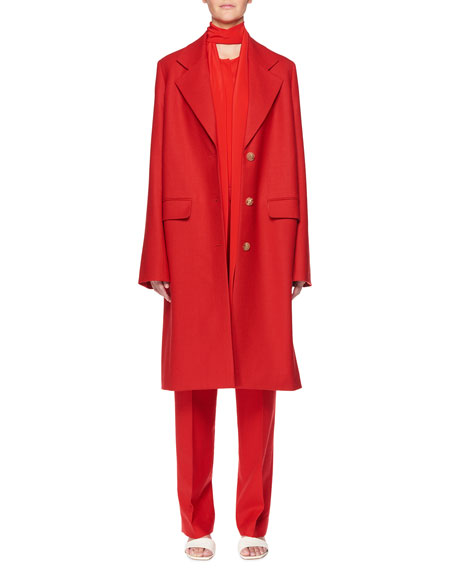 Teymon Notched-Lapel Single-Breasted Oversized Wool Coat