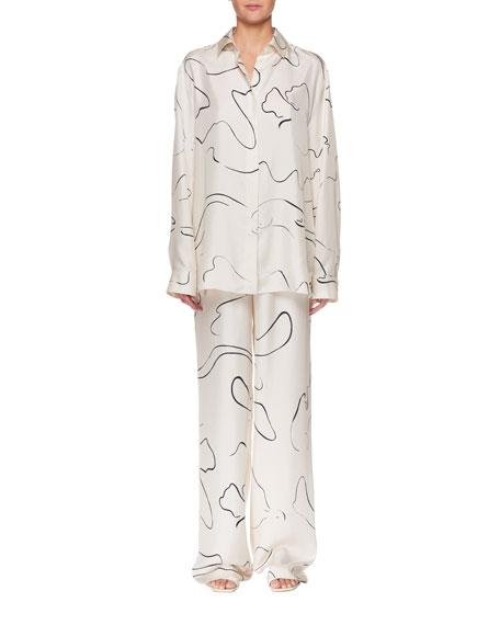 Big Sisea Button-Down Long-Sleeve Silk Shirt