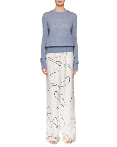 Minco Crewneck Long-Sleeve Cashmere-Silk Top and Matching Items