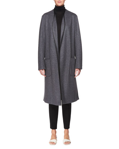 Elisand Open-Front Heathered Wool Coat with Leather Trim and Matching Items