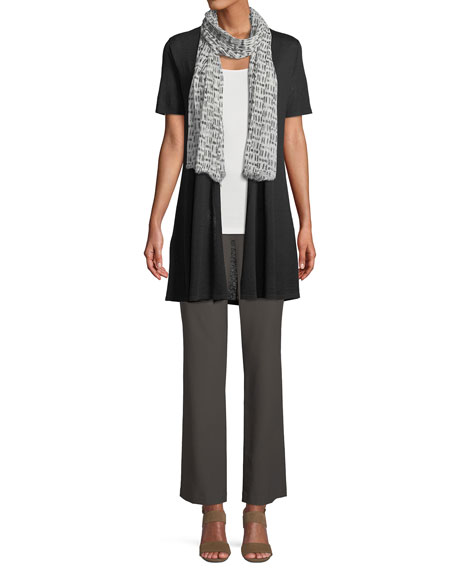 Short-Sleeve Fine Silk-Organic Linen Long Cardigan