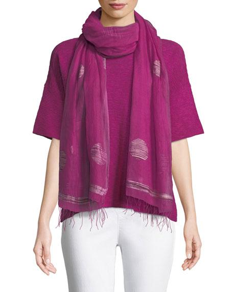 Cotton-Linen Slub Half-Sleeve Box Top, Plus Size