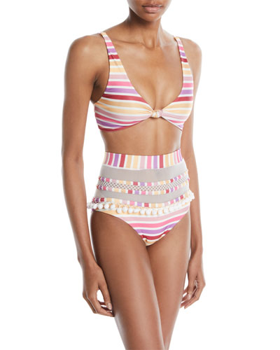 Claudia Striped Knot-Front Bikini Top and Matching Items