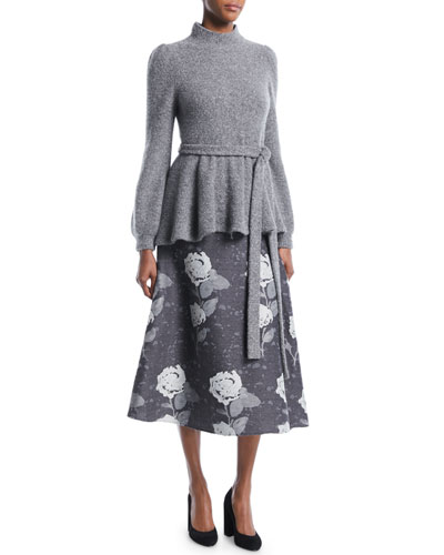 Mock-Neck Bell-Sleeve Tie-Waist Crepe Cashmere Knit Sweater and Matching Items