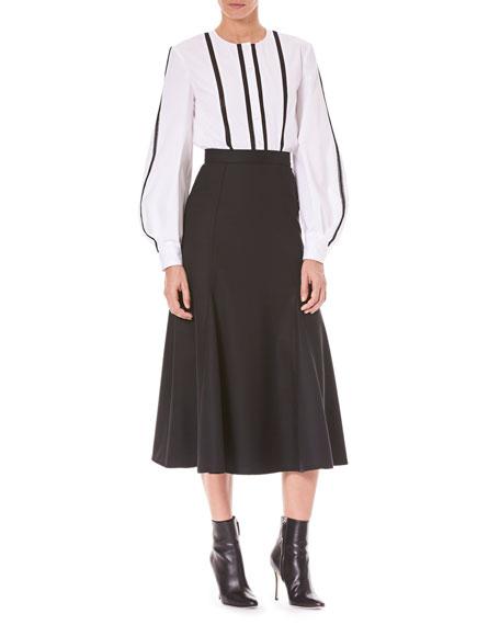 Vertical-Stripe Button-Front Wool Shirt