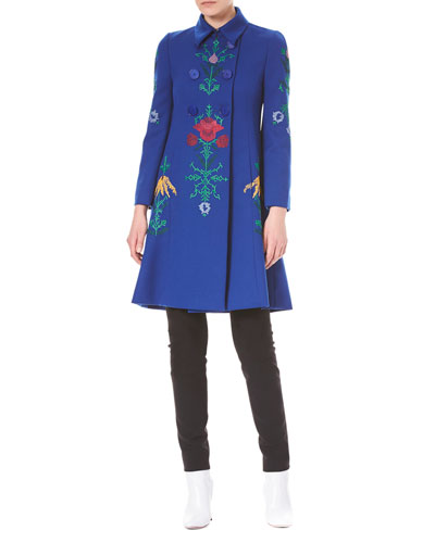 Floral-Embroidered Double-Breasted Wool Coat and Matching Items