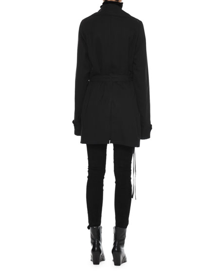 Deconstructed Double-Breasted Wool Trench Coat