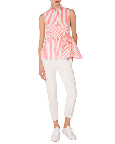 Sleeveless Kent-Collar Wrap-Detail Striped Shirt and Matching Items