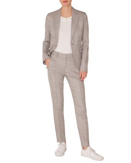 Press-Button Flap-Pockets Stretch-Wool Blazer