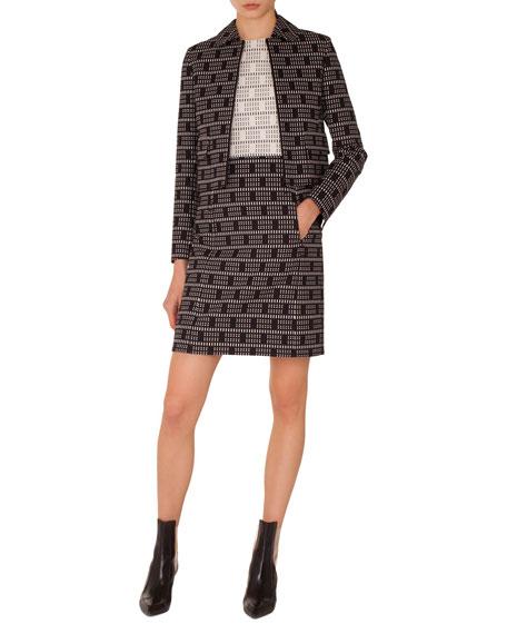 Short Lace Jacquard Zip-Front Jacket