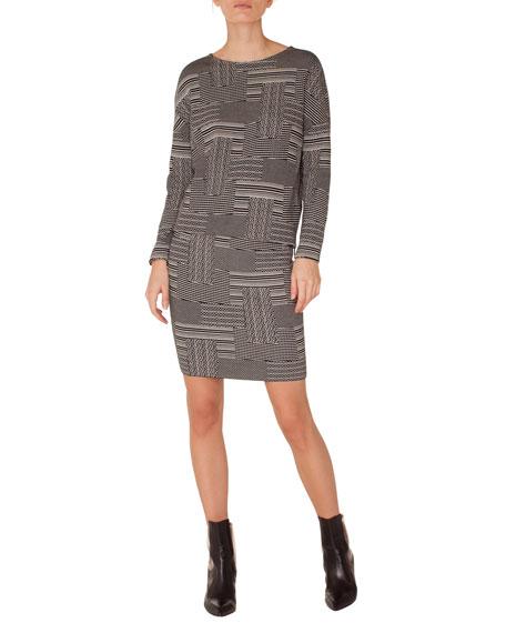 Crewneck Long-Sleeve Patchwork Knit Jacquard Top