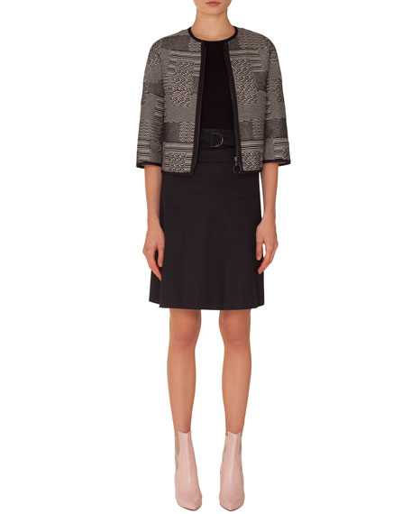 Graphic-Jacquard Zip-Front Jacket with Solid Piping