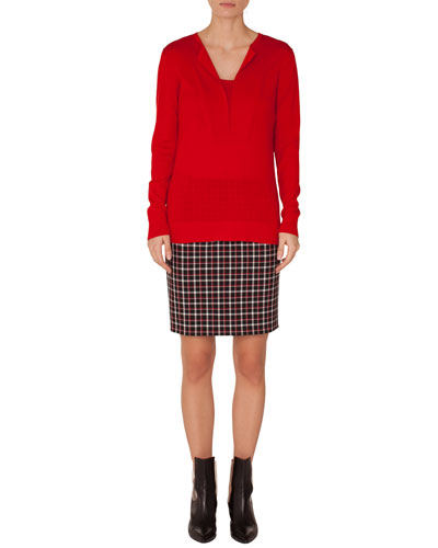 Glen Check Woven Straight Back-Zip Mini Skirt and Matching Items