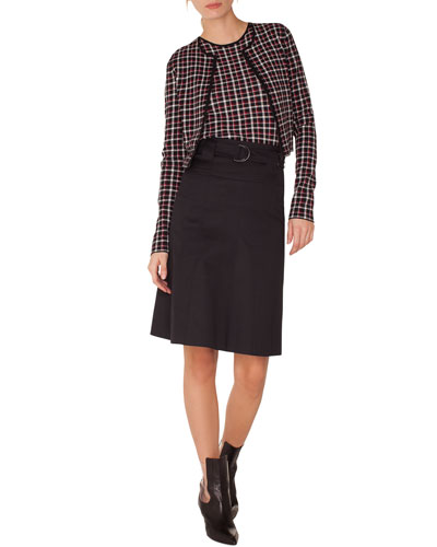 Long-Sleeve Zip-Front Glen Check Knit Bolero and Matching Items