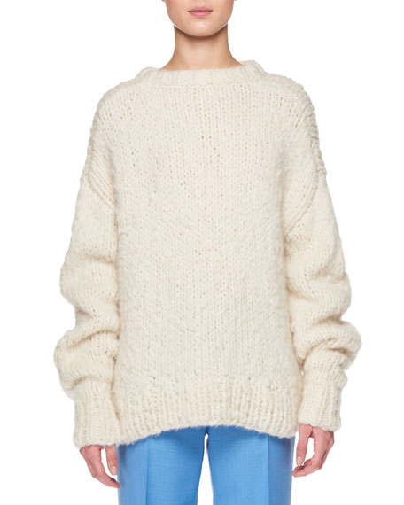 Ophelia Crewneck Long-Sleeve Cashmere Sweater