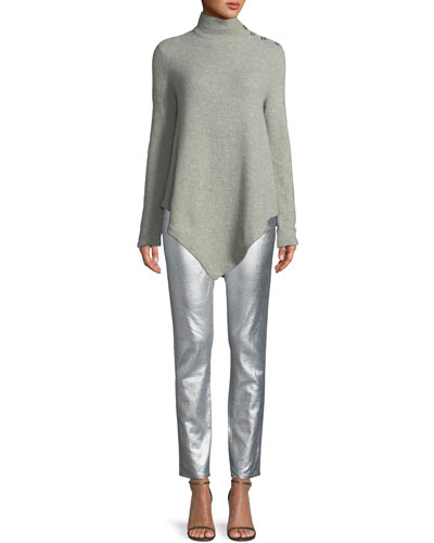 Long-Sleeve Turtleneck Cashmere Poncho and Matching Items