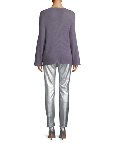 Boat-Neck Dolman-Sleeve Cashmere Sweater