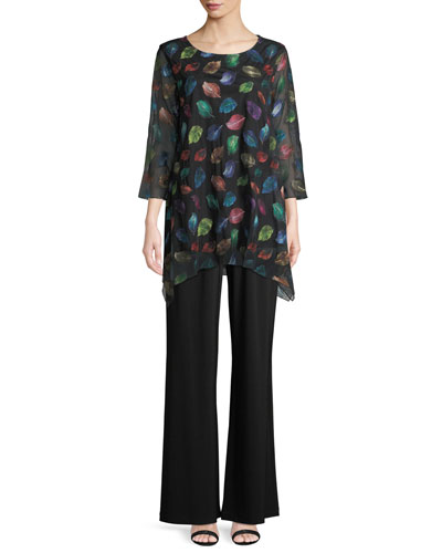 Falling Leaves Embroidered Tunic  and Matching Items, Plus Size