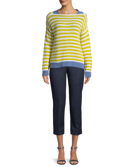 Striped Open-Weave Cashmere Pullover
